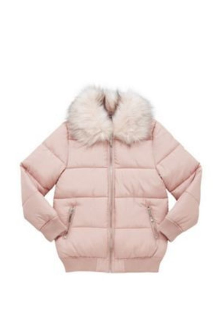 F&F Faux Fur Collar Padded Bomber Jacket, Girl's, Size: 8-9 years