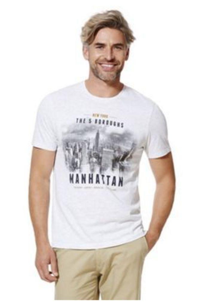 F&F Manhattan City Skyline Print Marl T-Shirt, Men's, Size: 4XL