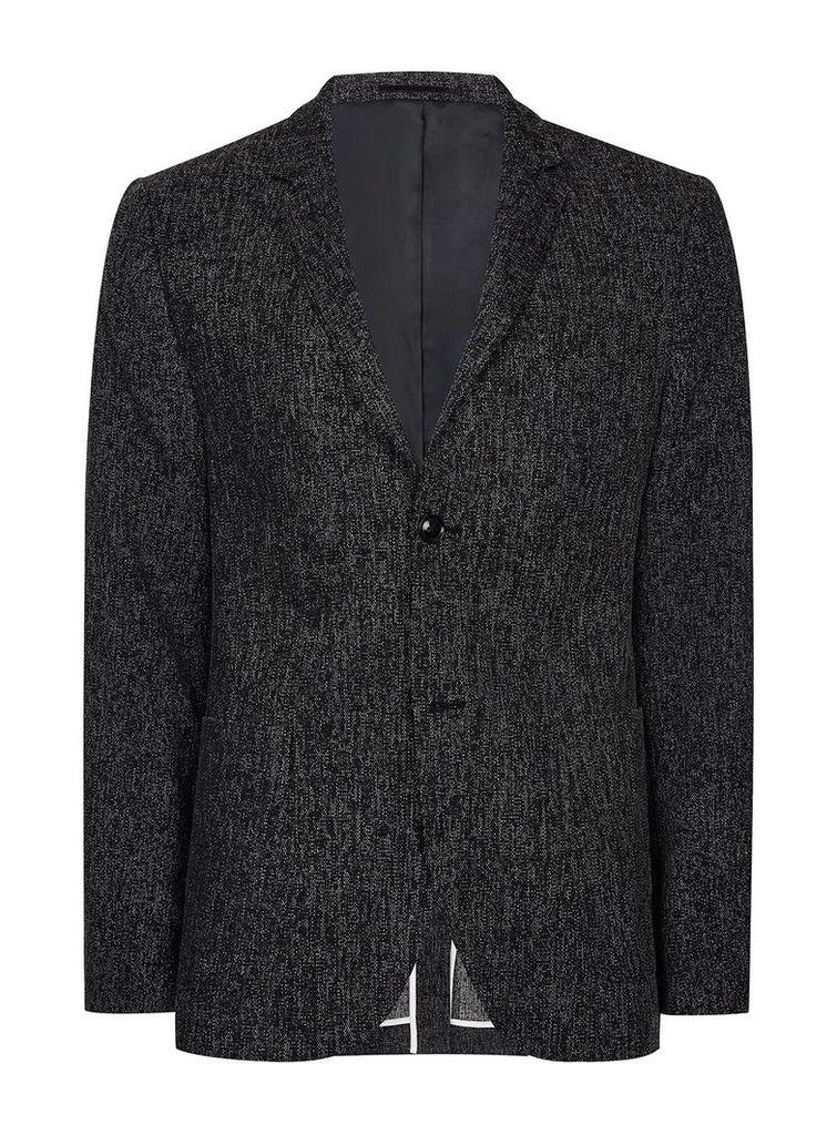 Men's Topman Charcoal Neppy Skinny Blazer, Charcoal