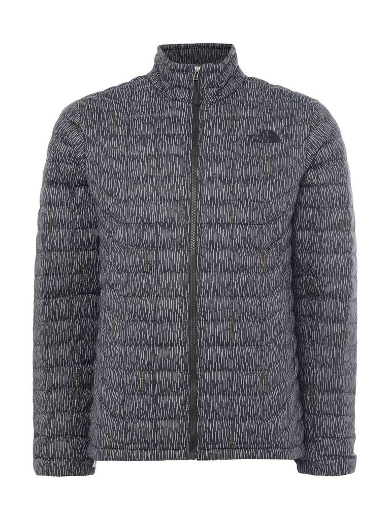 Men's The North Face Thermoball full zip printed packable jacket, Charcoal