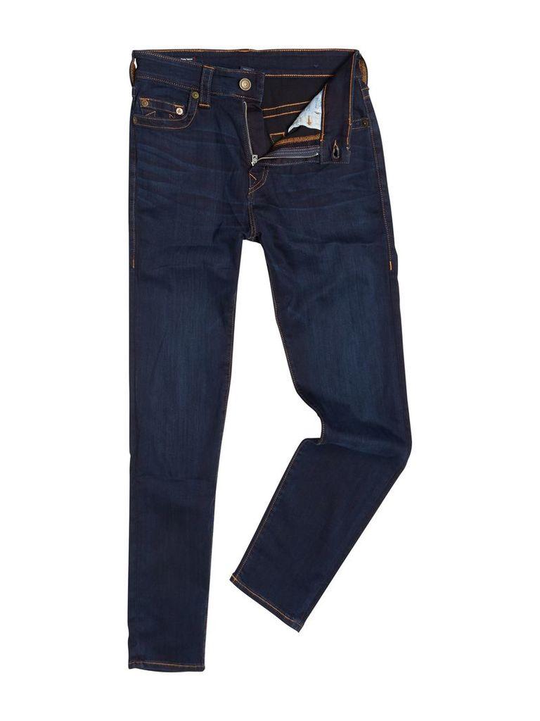 Men's True Religion Jack tapered slim fit mid wash jeans, Denim Mid Wash