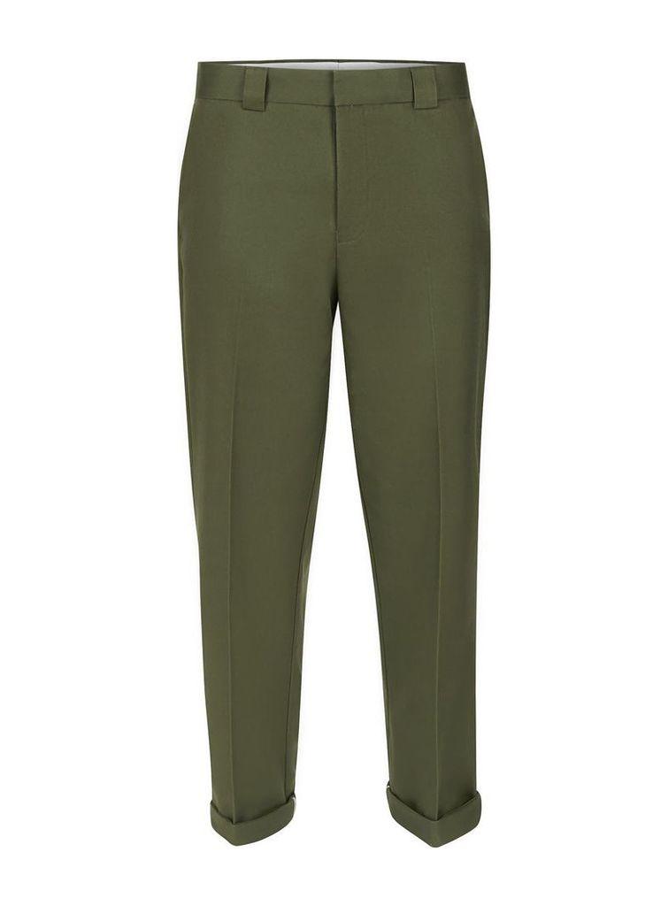 Men's Topman Khaki Twill Slim Fit Smart Trousers, Khaki