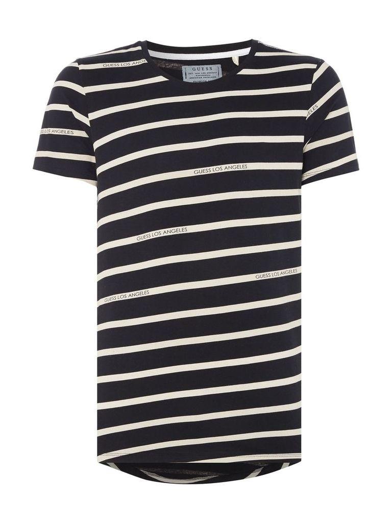 Men's Guess Striped crew neck t-shirt, Black