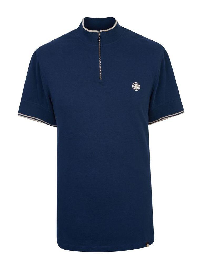 Men's Pretty Green Pique Zip Up T-Shirt, Navy