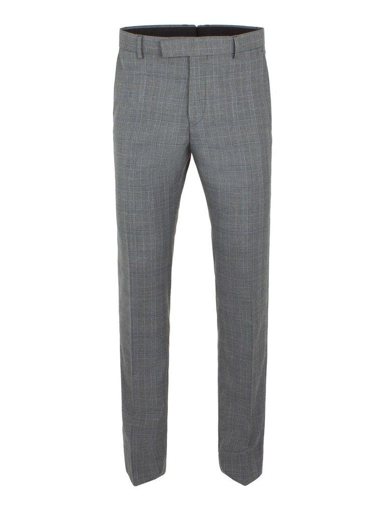 Men's Limehaus Warwick Grey Check Slim Fit Trousers, Grey