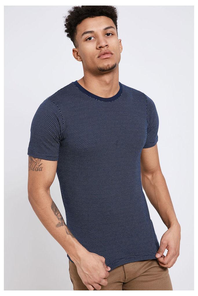 Jack & Jones Jacquard Spotted Crew Neck T-Shirt - Navy