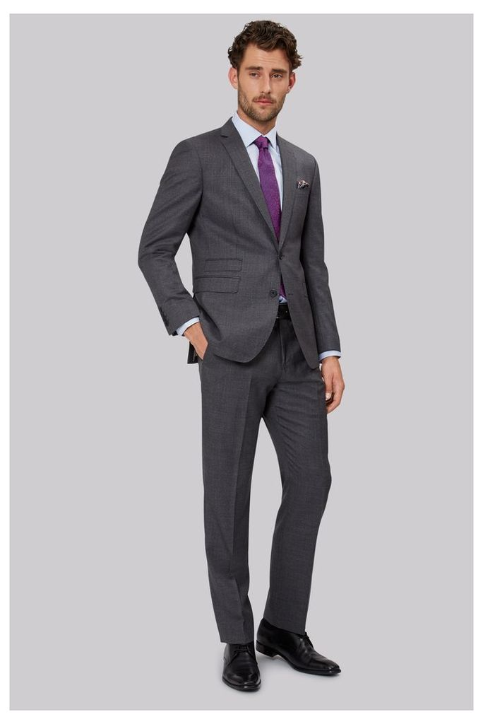 Moss 1851 Tailored Fit Mid Grey Sharkskin Suit