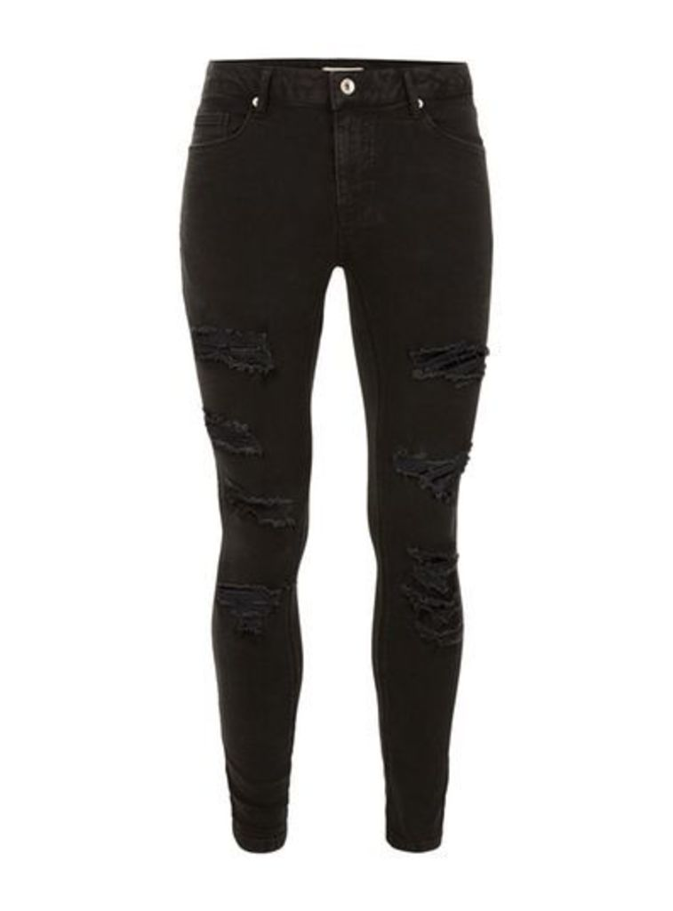 Mens Black Extreme Ripped Spray On Jeans, Black