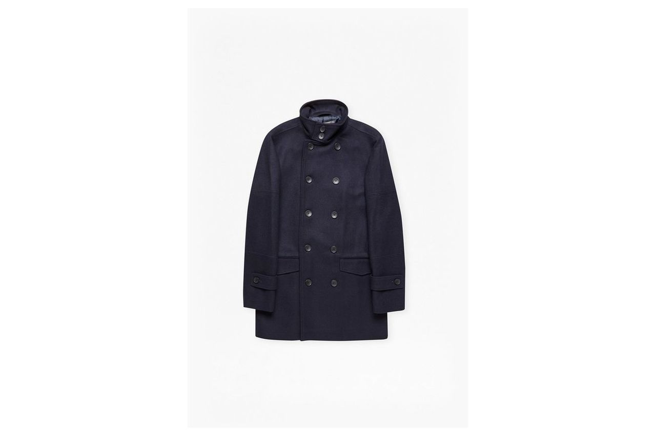 Double Breasted Funnel Neck Coat - marine