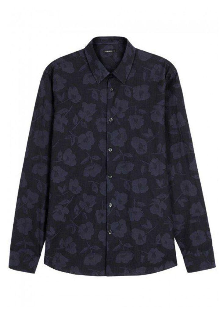J.Lindeberg Daniel Floral-jacquard Cotton Shirt - Size L