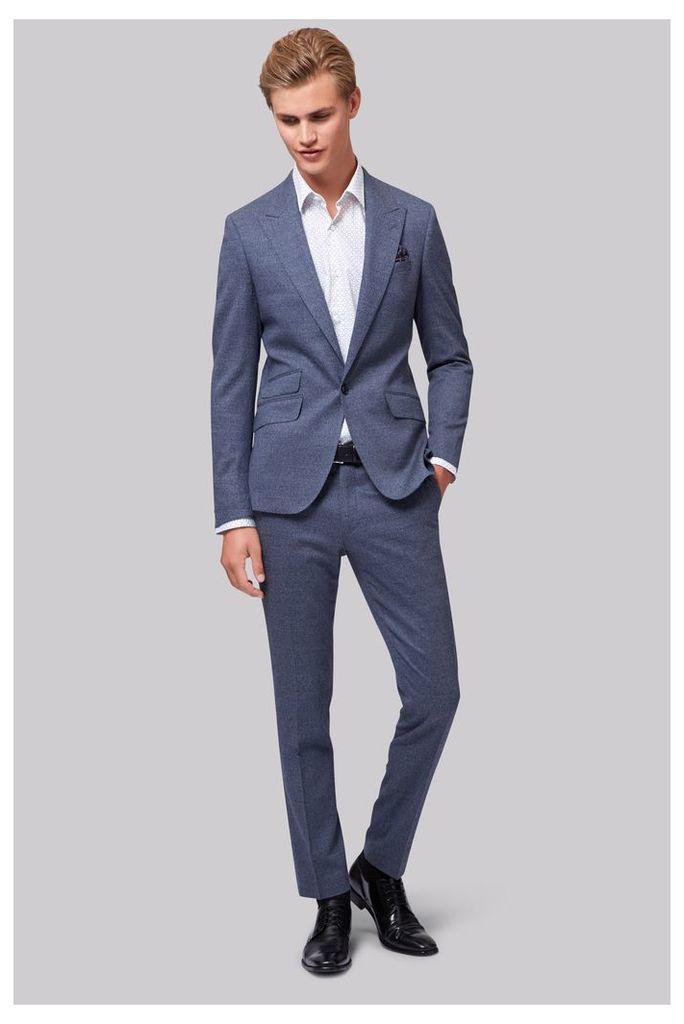 Moss London Skinny Fit Italian Light Blue Speckled Jacket