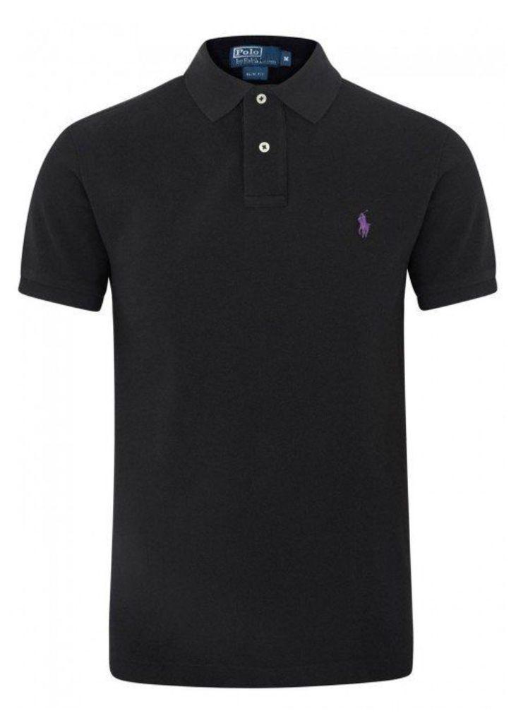 Polo Ralph Lauren Black Slim Piqué Cotton Polo Shirt - Size XL