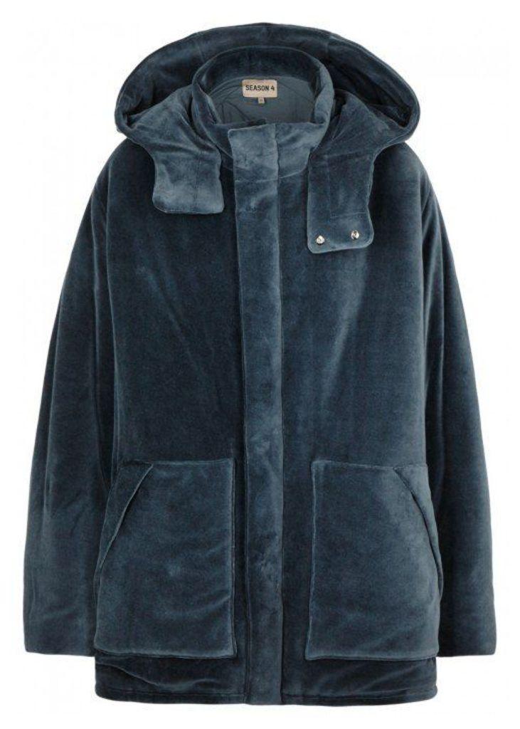 YEEZY SEASON 4 Blue Padded Velvet Coat - Size M