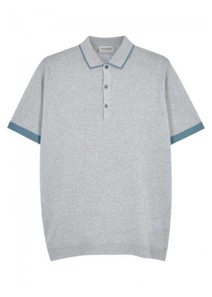 John Smedley Nailsea Grey Wool Polo Shirt - Size S