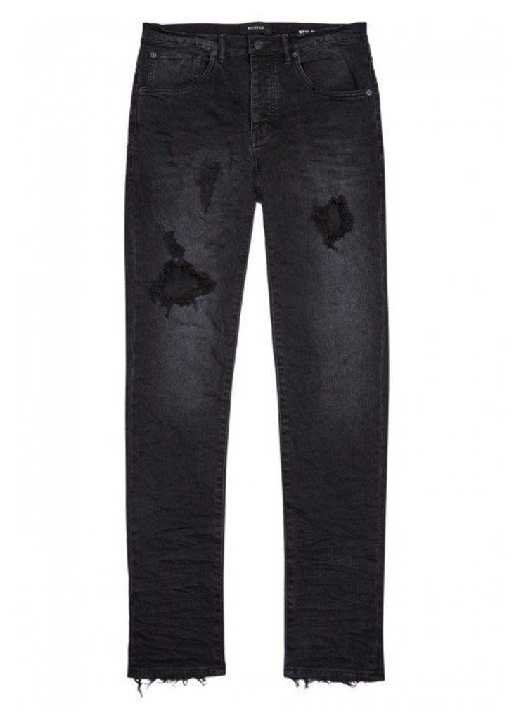 Purple Dark Grey Distressed Slim-leg Jeans - Size W28