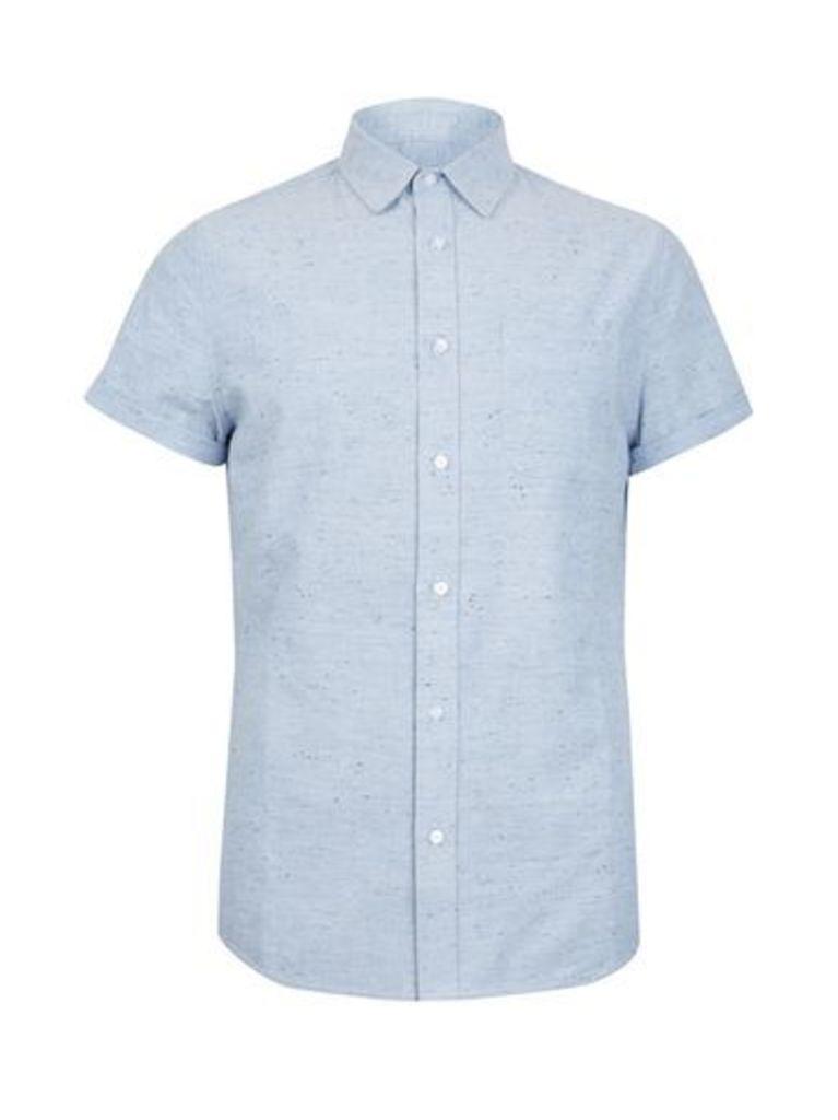 Mens Blue Short Sleeve Nepp Shirt, Blue