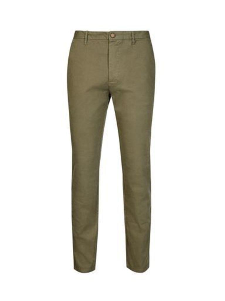 Mens Khaki Garment Dyed Slim Chinos, Green