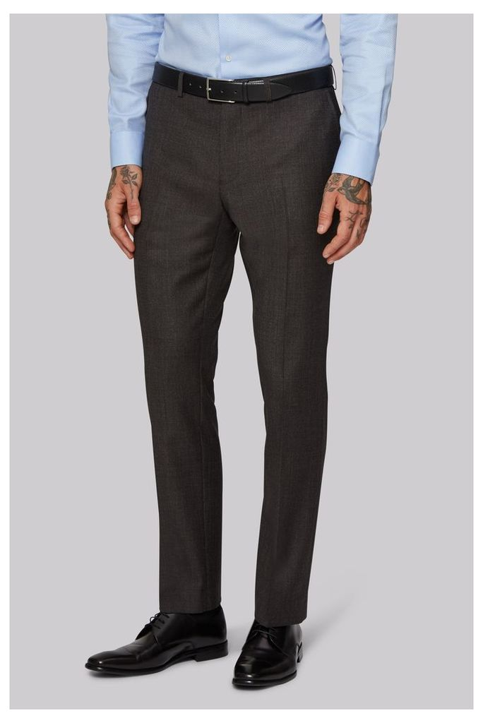 Moss 1851 Tailored Fit Brown Texture Trousers