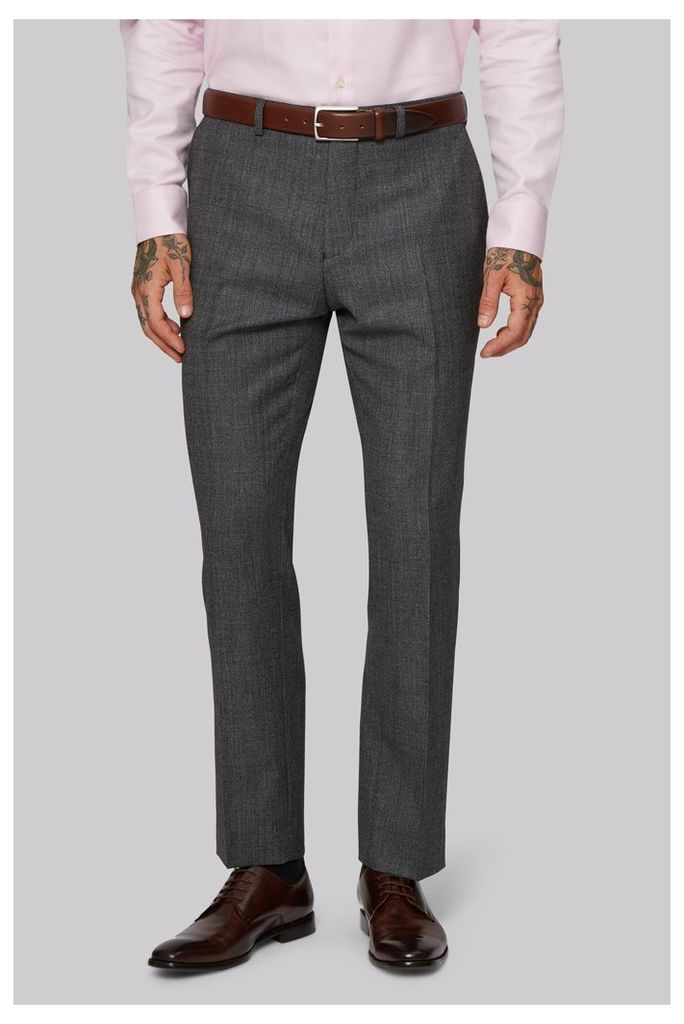 Moss 1851 Tailored Fit Charcoal Texture Trousers