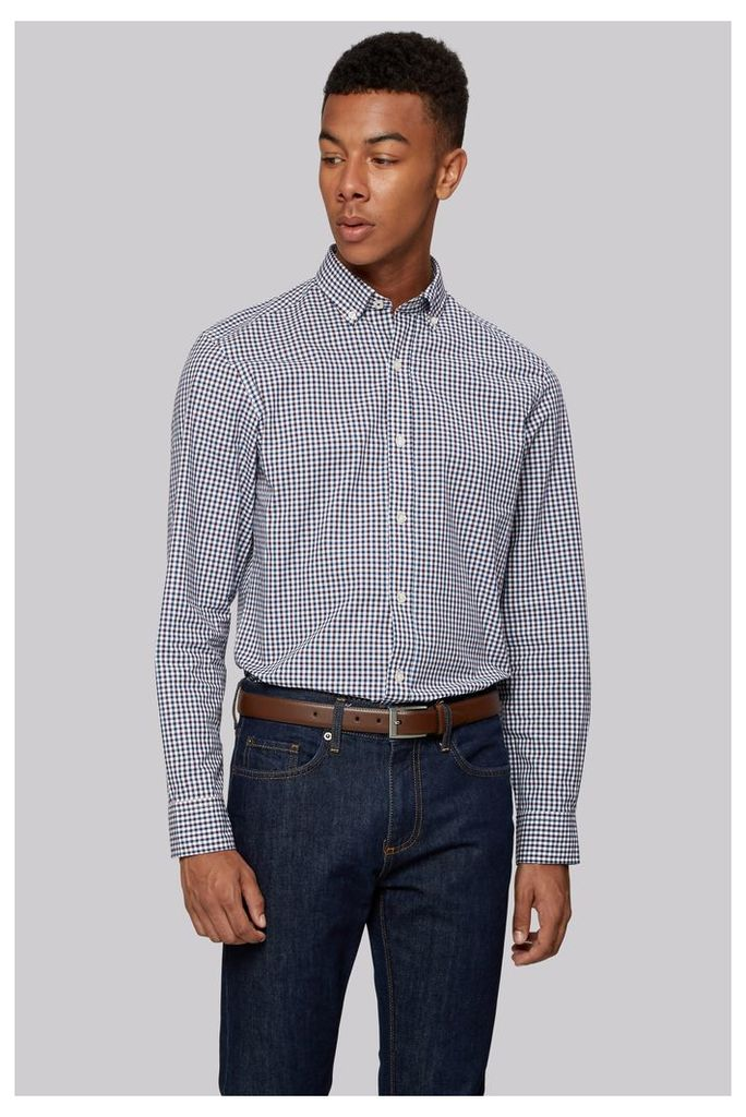Moss 1851 Slim Fit Purple and Teal Check Button Down Casual Shirt