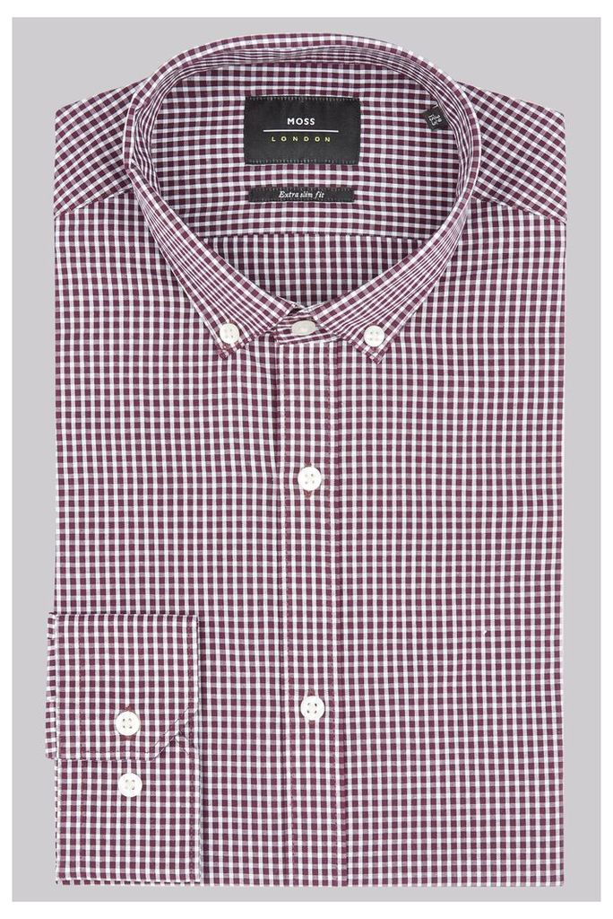 Moss London Extra Slim Fit Wine Single Cuff Gingham Button Down Shirt