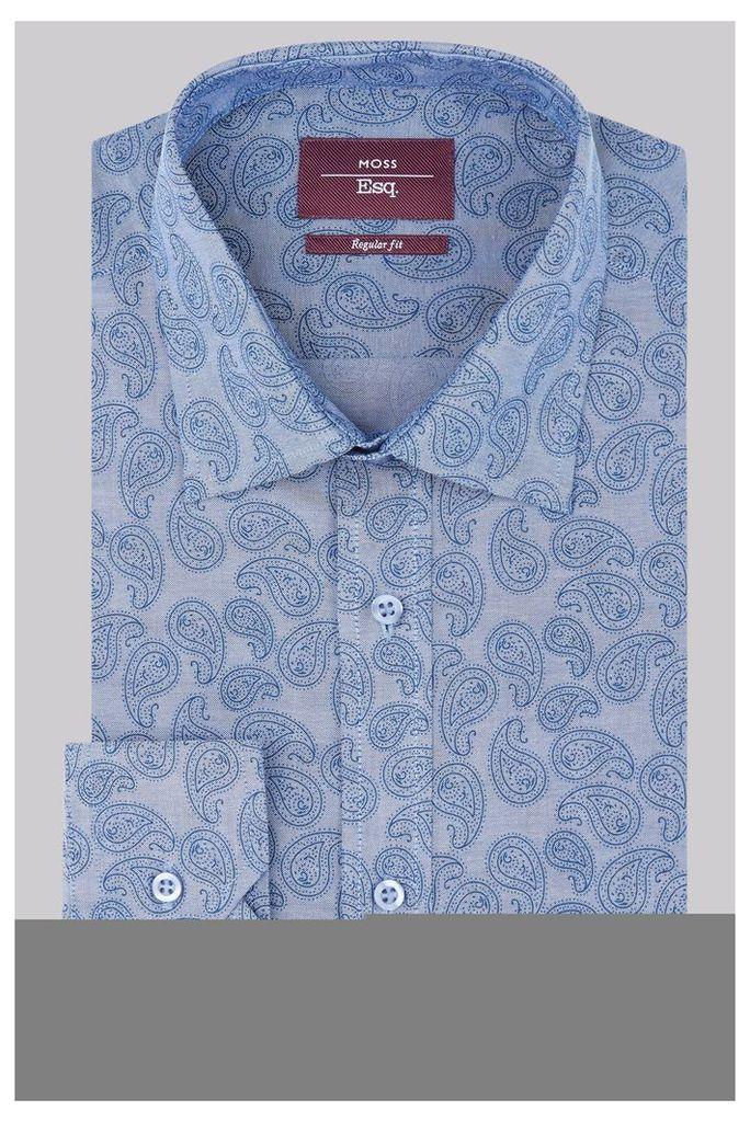 Moss Esq. Regular Fit Blue Single Cuff Chambray Paisley Print  Shirt