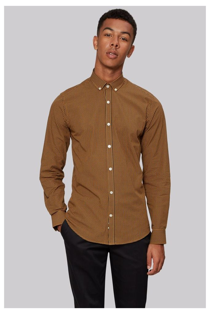 Moss London Extra Slim Fit Mustard Dobby Check Button Down Casual Shirt