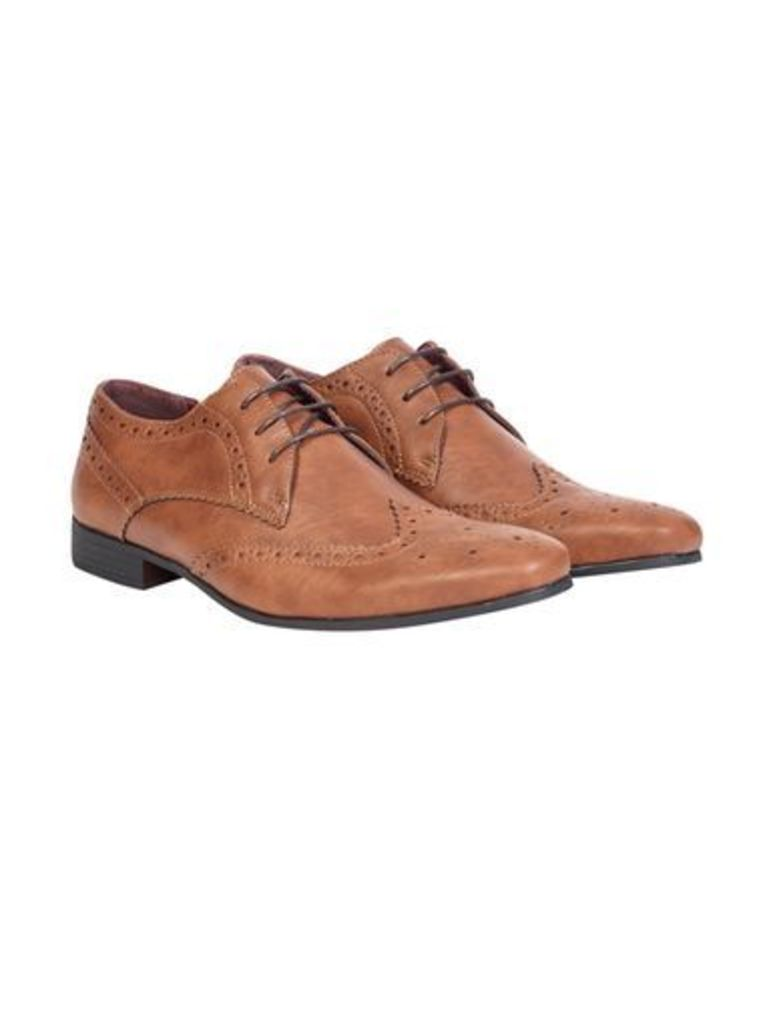 Mens Tan Leather Look Formal Shoes, Brown