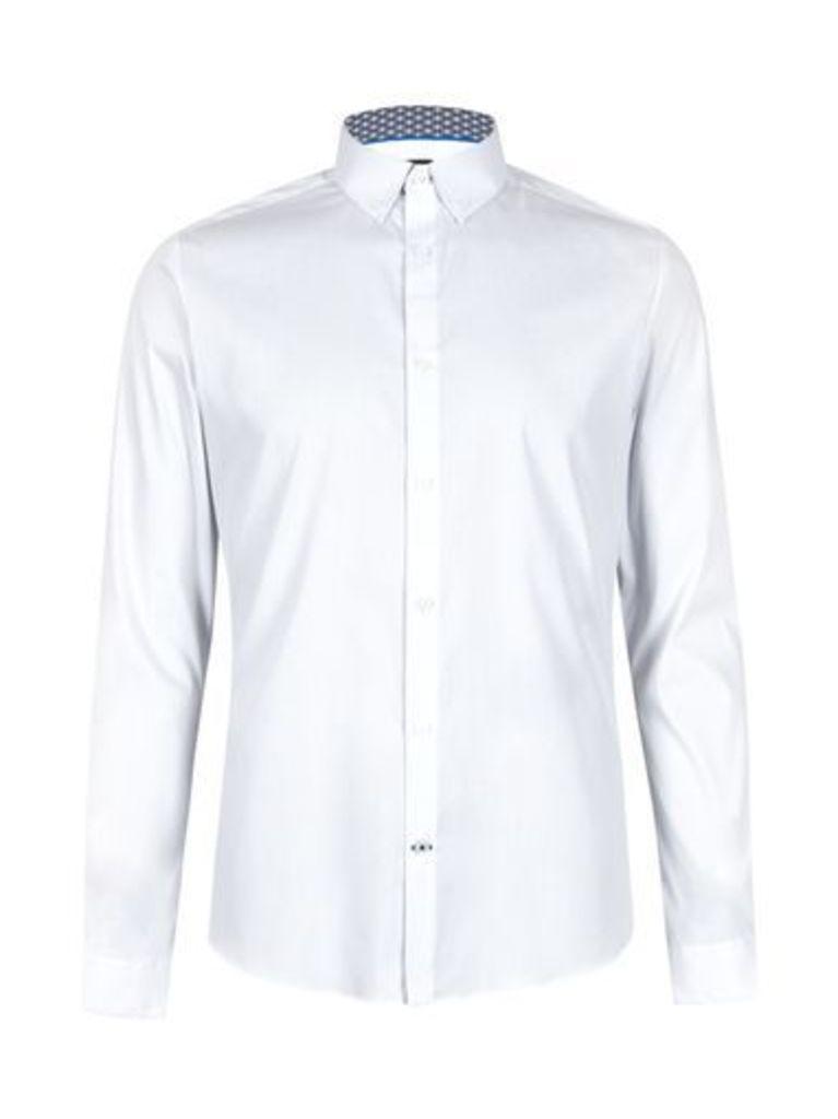 Mens Long Sleeve White Stretch Skinny Shirt, White