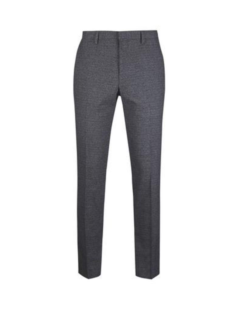 Mens Dark Grey Textured Skinny Fit Suit Trousers, Grey