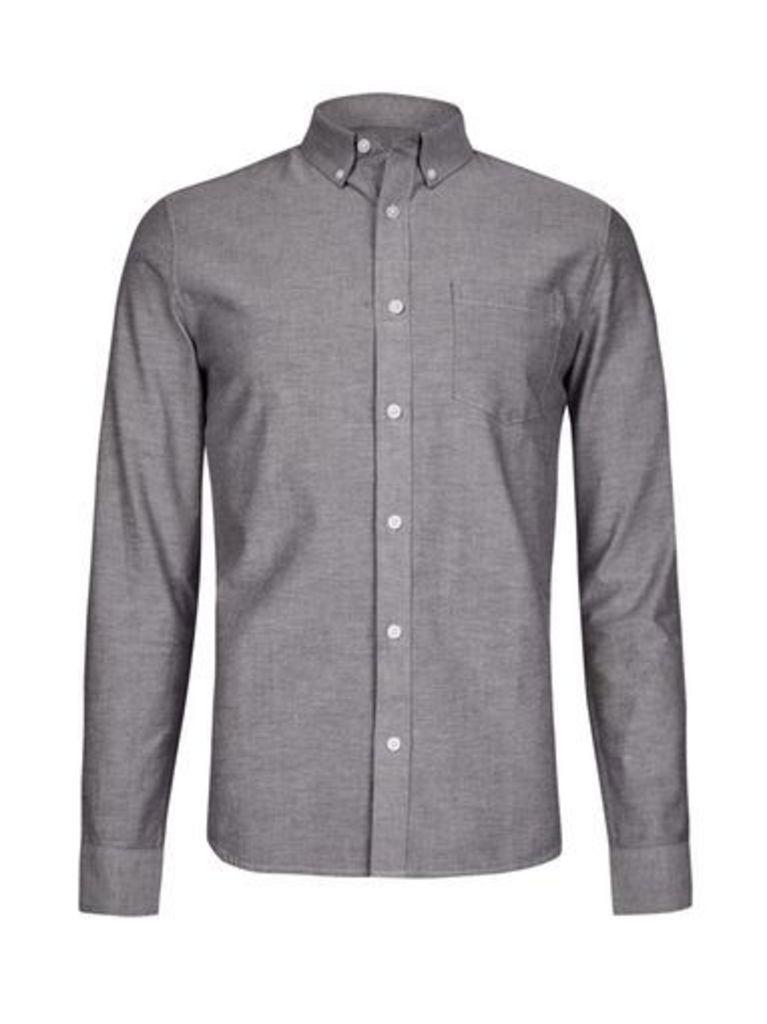 Mens Grey Long Sleeve Oxford Shirt, Grey