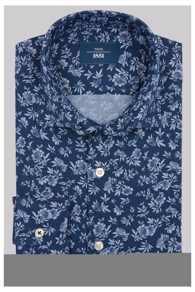Moss 1851 Slim Fit Navy Floral Print Casual Shirt