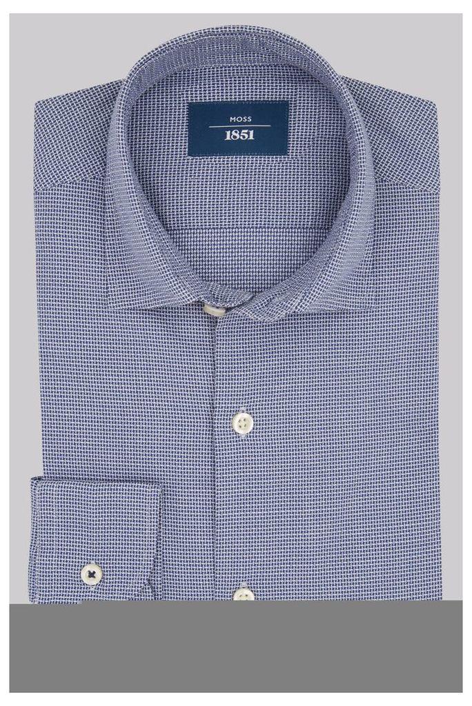 Moss 1851 Slim Fit Navy Textured Casual Shirt