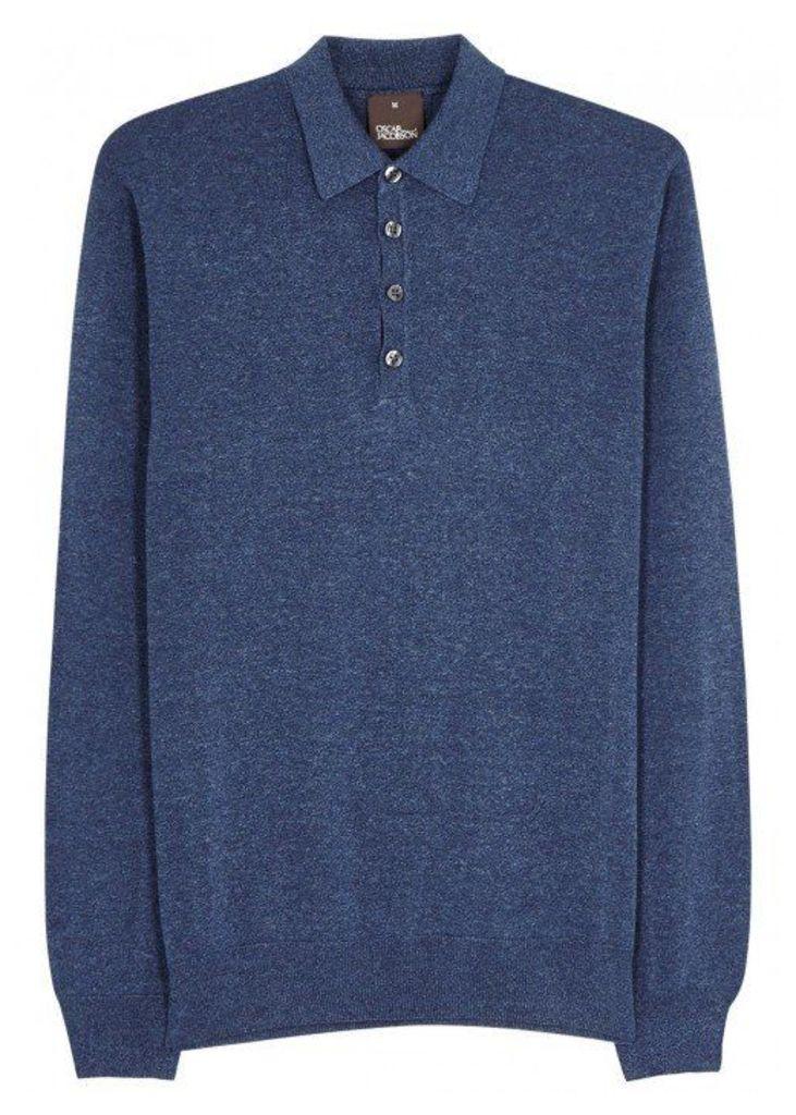 Oscar Jacobson Ruben Blue Cotton Polo Shirt - Size XL