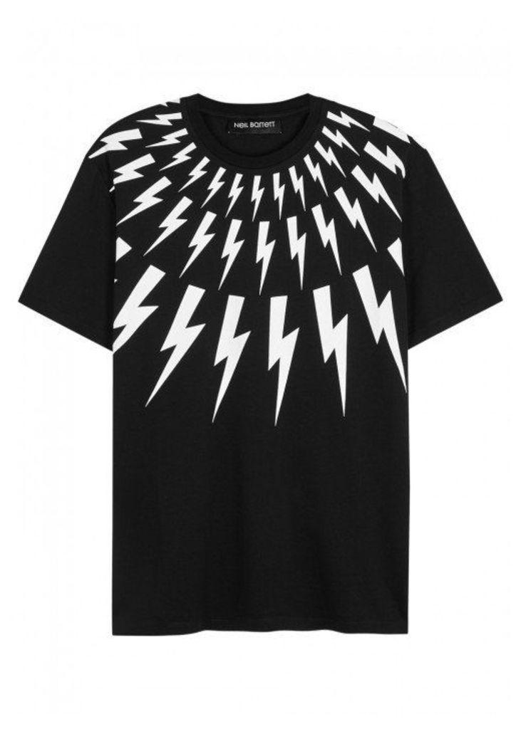 Neil Barrett Black Lightning-print Cotton T-shirt - Size L