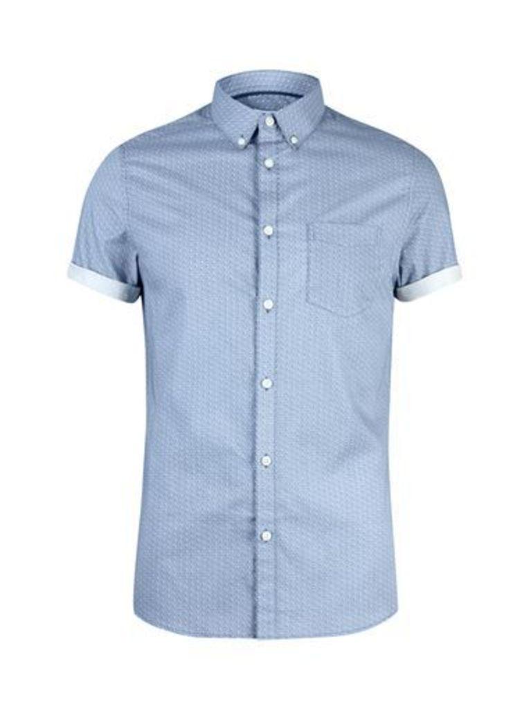 Mens Blue Short Sleeve Geometric Print Shirt, Blue