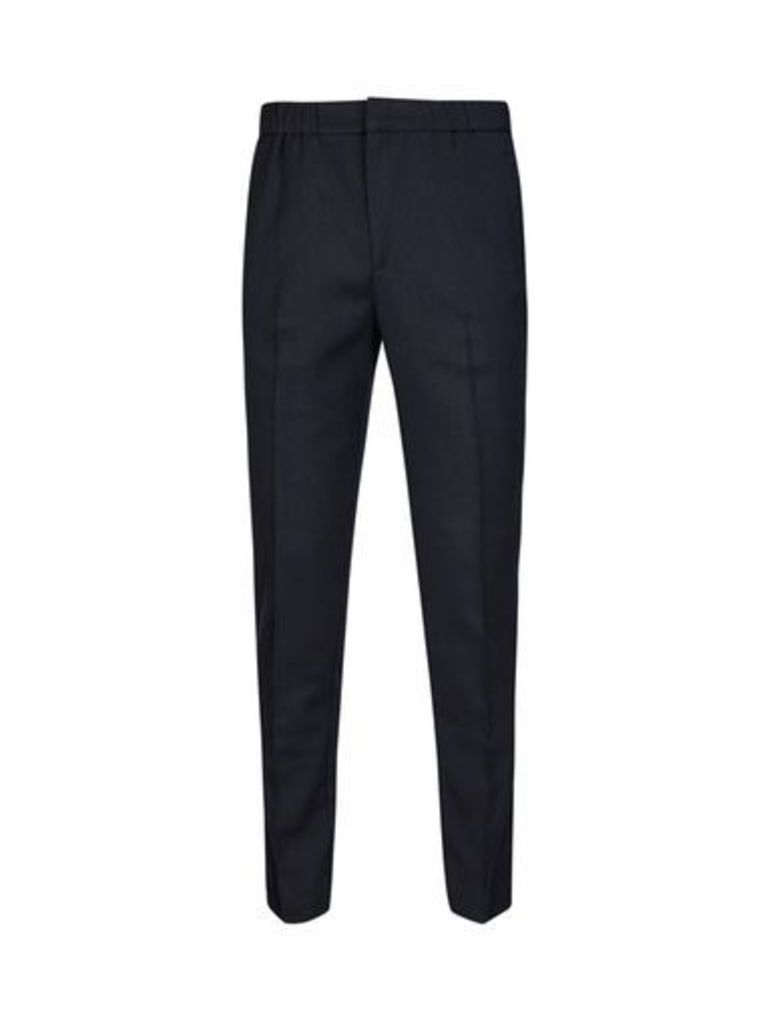Mens Navy Tapered Fit Drawstring Trousers, Blue