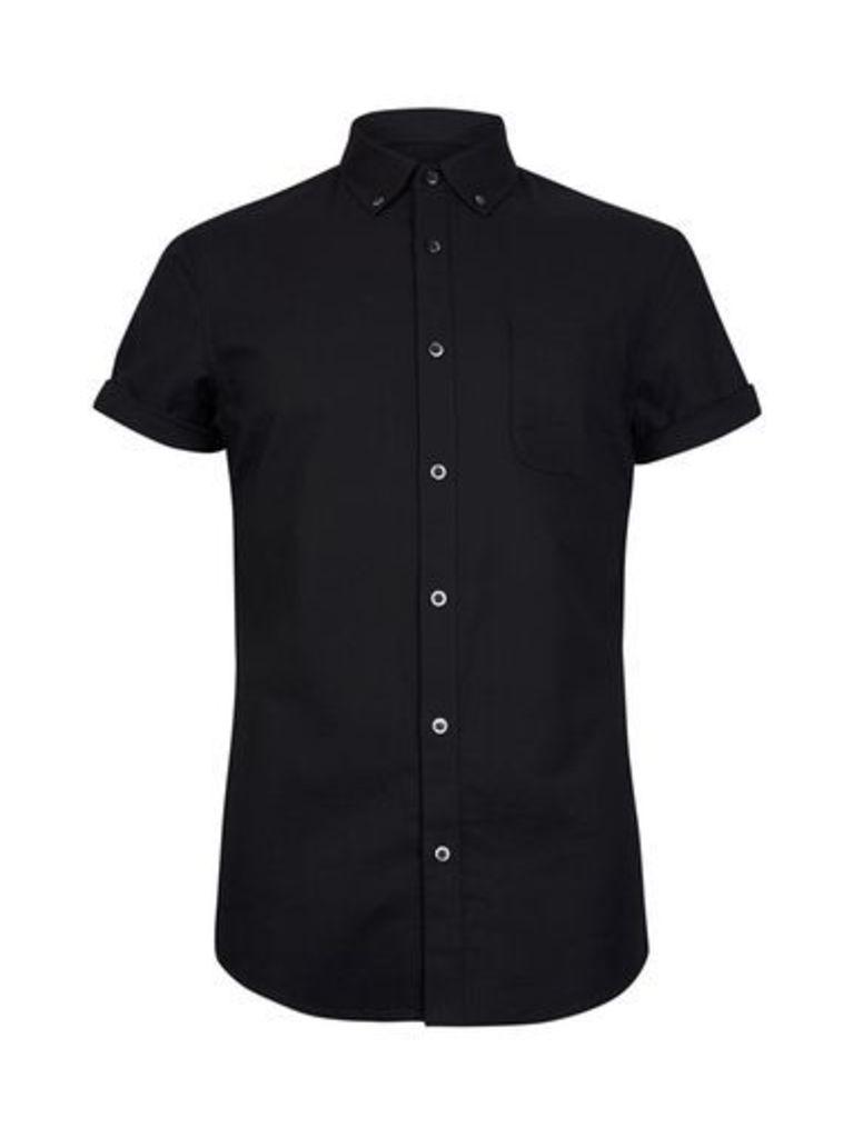 Mens Black Short Sleeve Oxford Shirt, Black