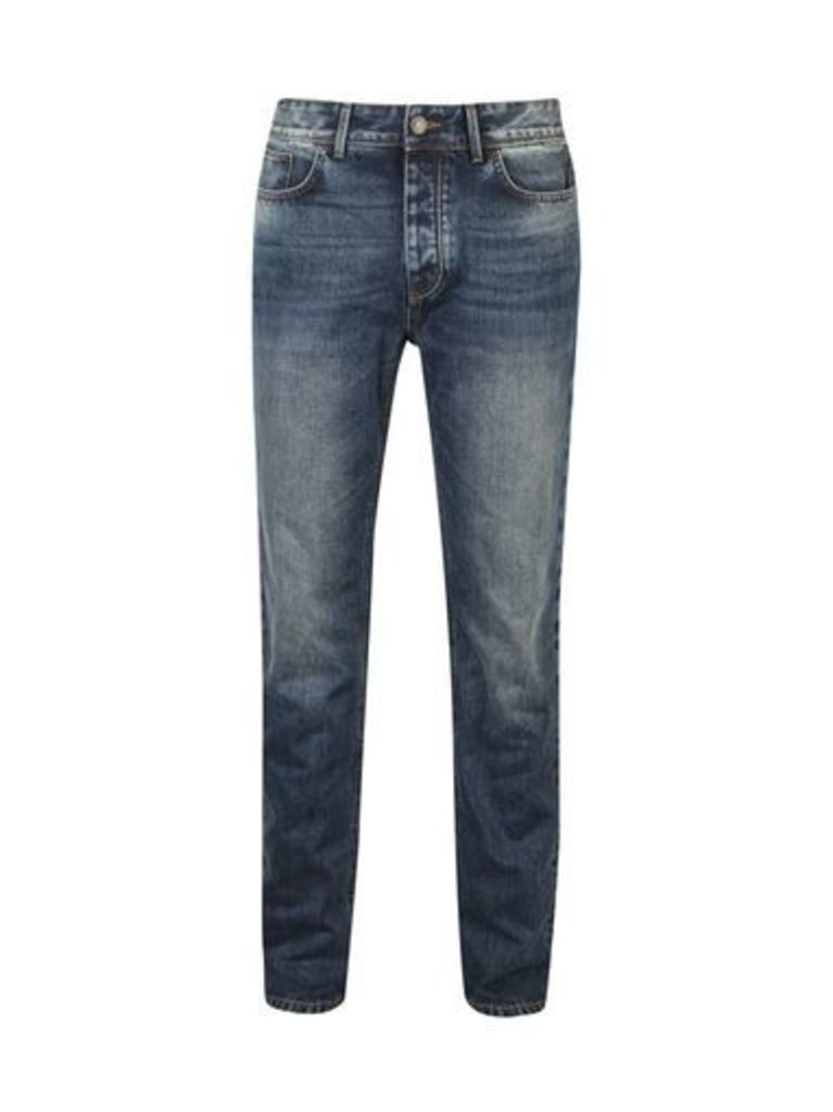 Mens Blue and Grey Wash Stretch Tapered Leg Jeans, Blue