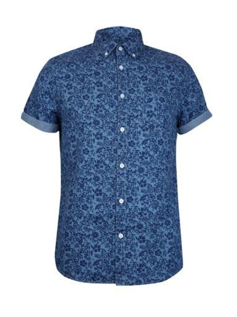 Mens Denim Short Sleeve Floral Print Shirt, Blue