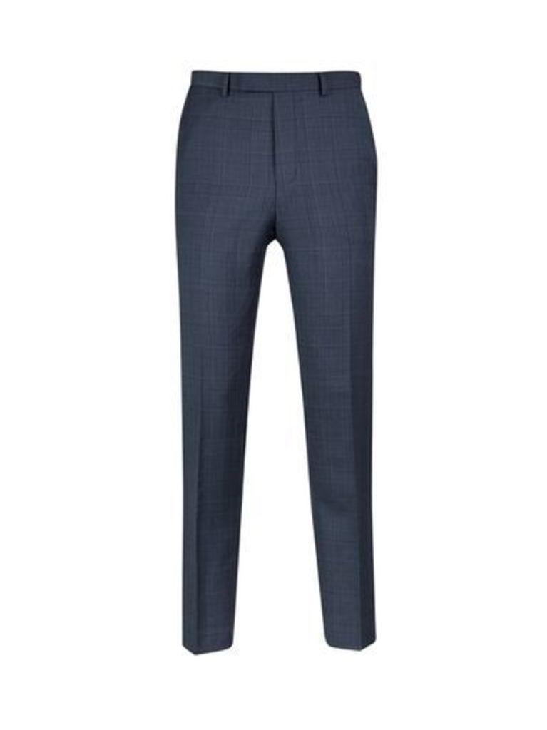Mens Montague Burton Blue Check Slim Fit Trousers, Blue