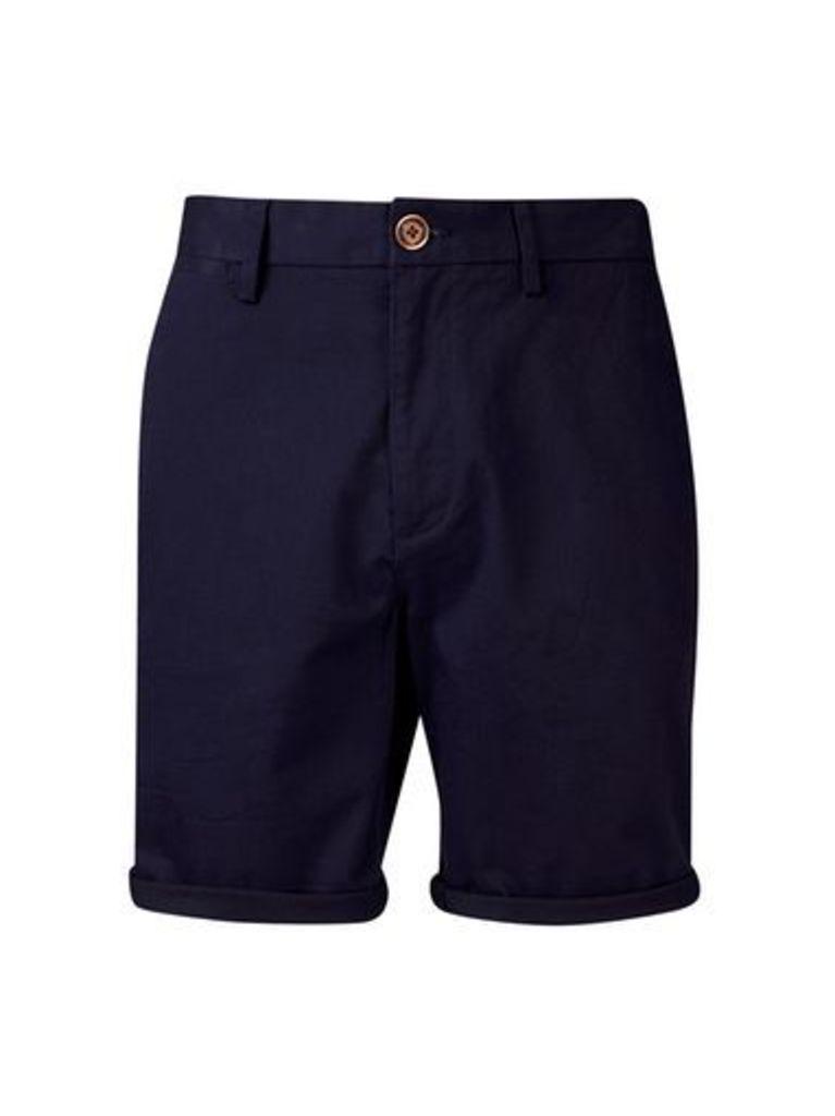 Mens Navy Stretch Chino Shorts, Blue