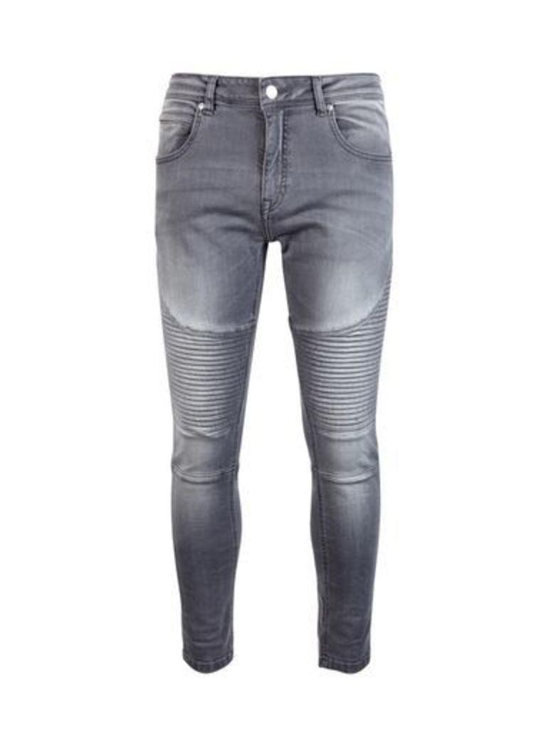 Mens Grey Super Skinny Fit Biker Jeans, Grey