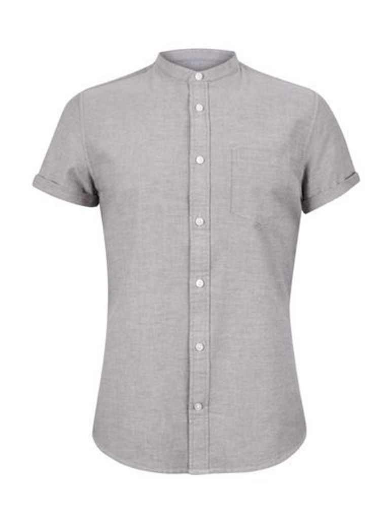Mens Grey Short Sleeve Oxford Granddad Shirt, Grey