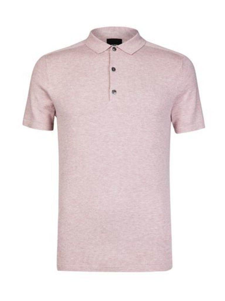 Mens Pink Knitted Polo Shirt, PINK