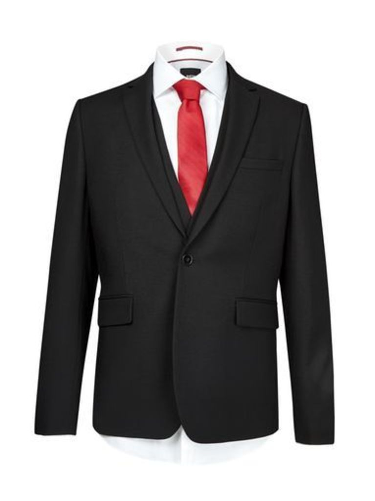 Mens Black Skinny Fit Suit Jacket, Black