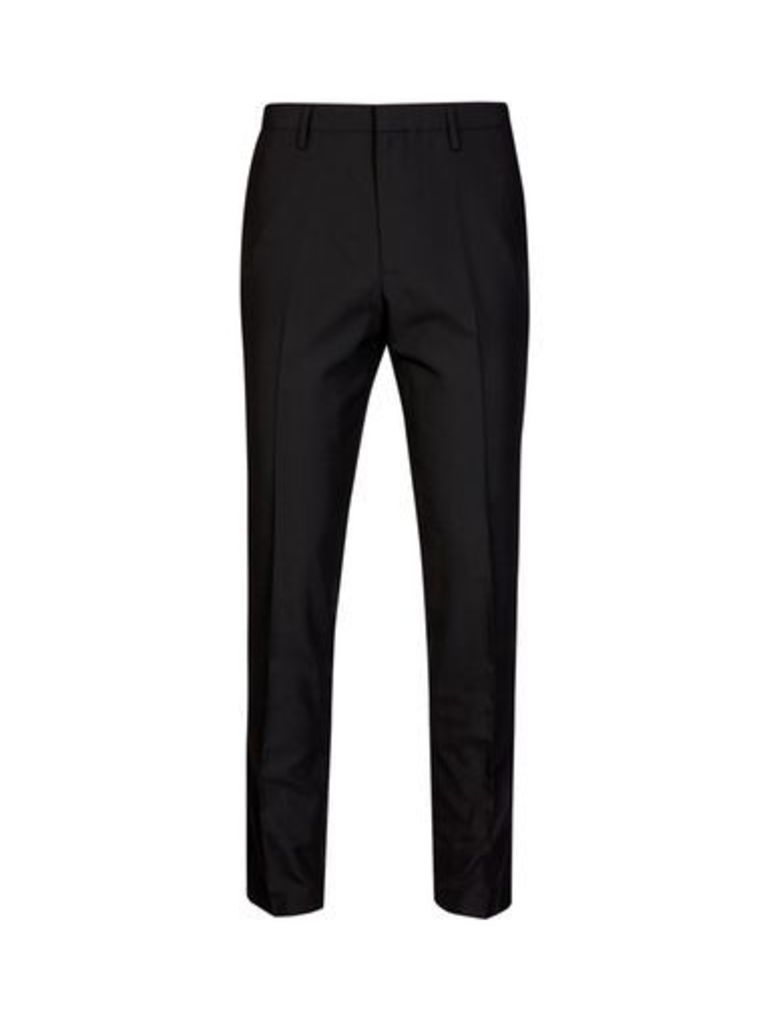Mens Black Tapered Fit Trousers, BLACK