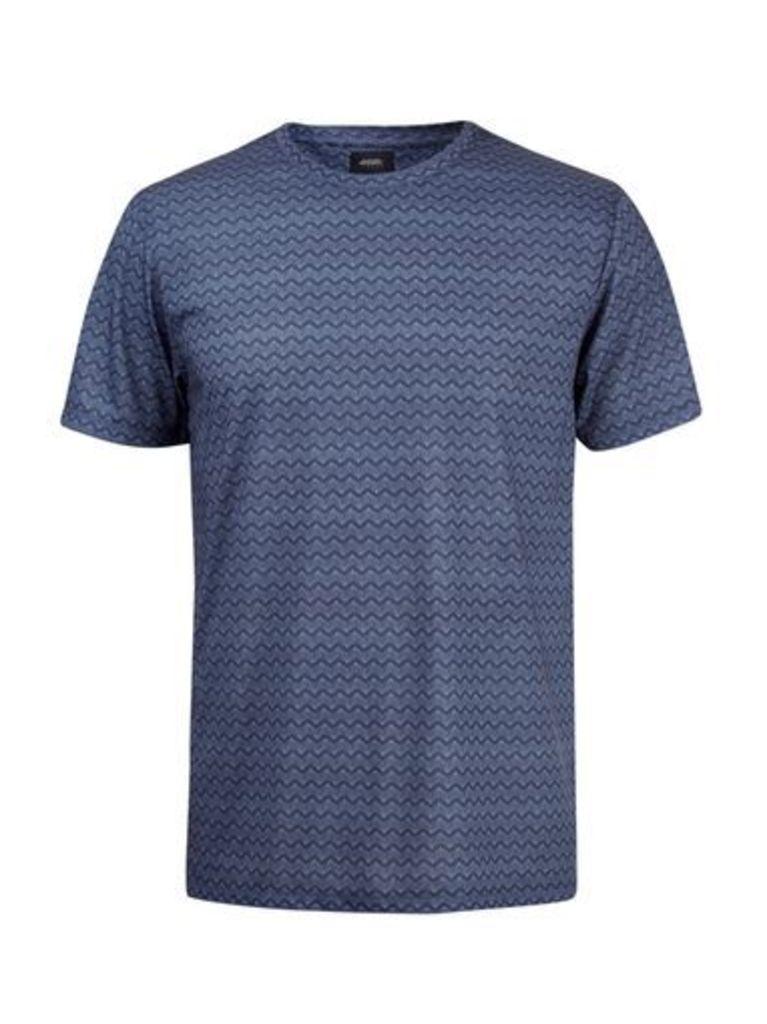 Mens Blue Zigzag Geometric Print T-Shirt, Blue