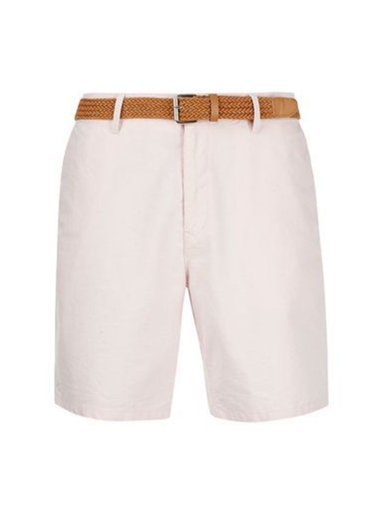 Mens Light Pink Oxford Belted Shorts, PINK