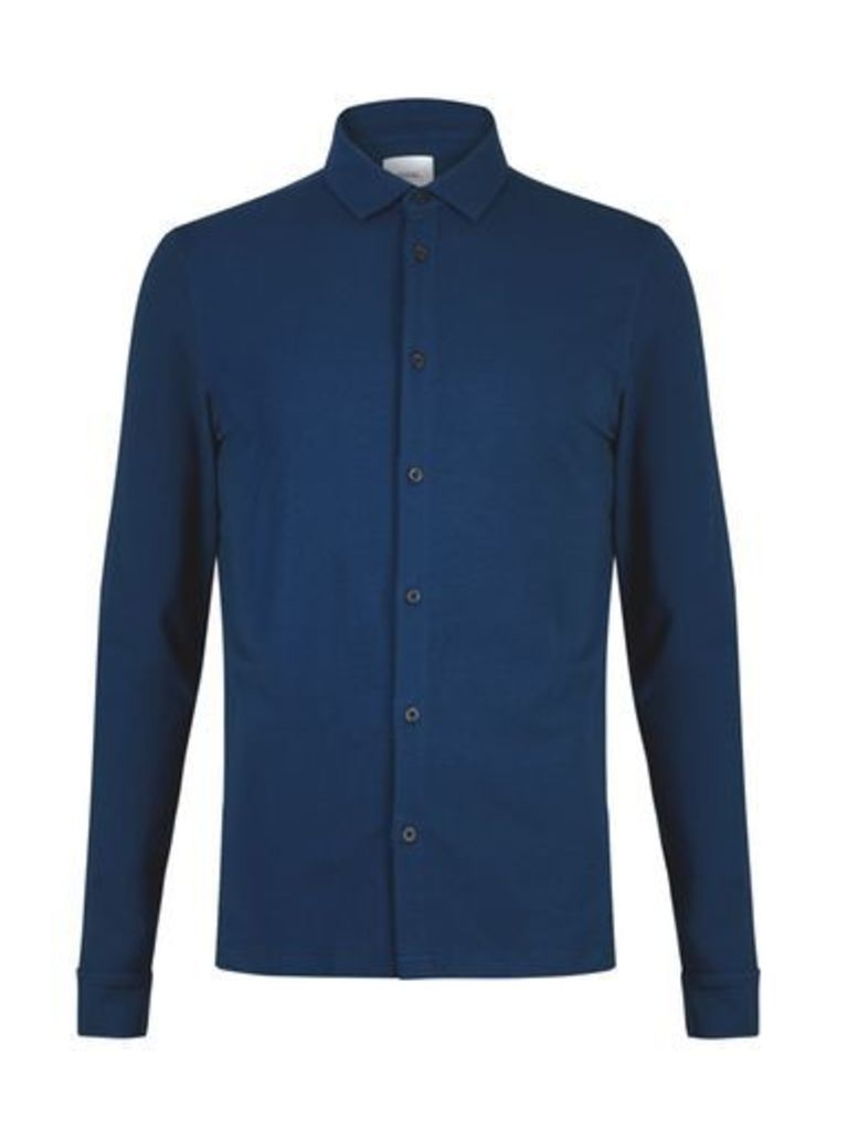 Mens Petrol Blue Stretch Fit Button Through Jersey Shirt, Blue
